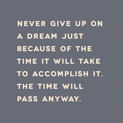 Inspirational Picture Quote U2013 Never Give Up On A Dream Just Because Of The  Time It Will Take To Accomplish It U2013 The Time Will Pass Anyway