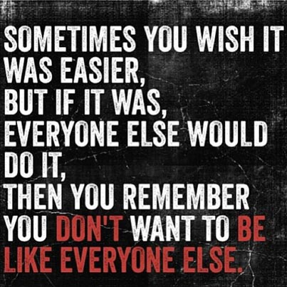 Inspirational picture quote - sometimes you wish it was easier, but if it was, everyone else would do it, then you remember you don't want to be like everyone else